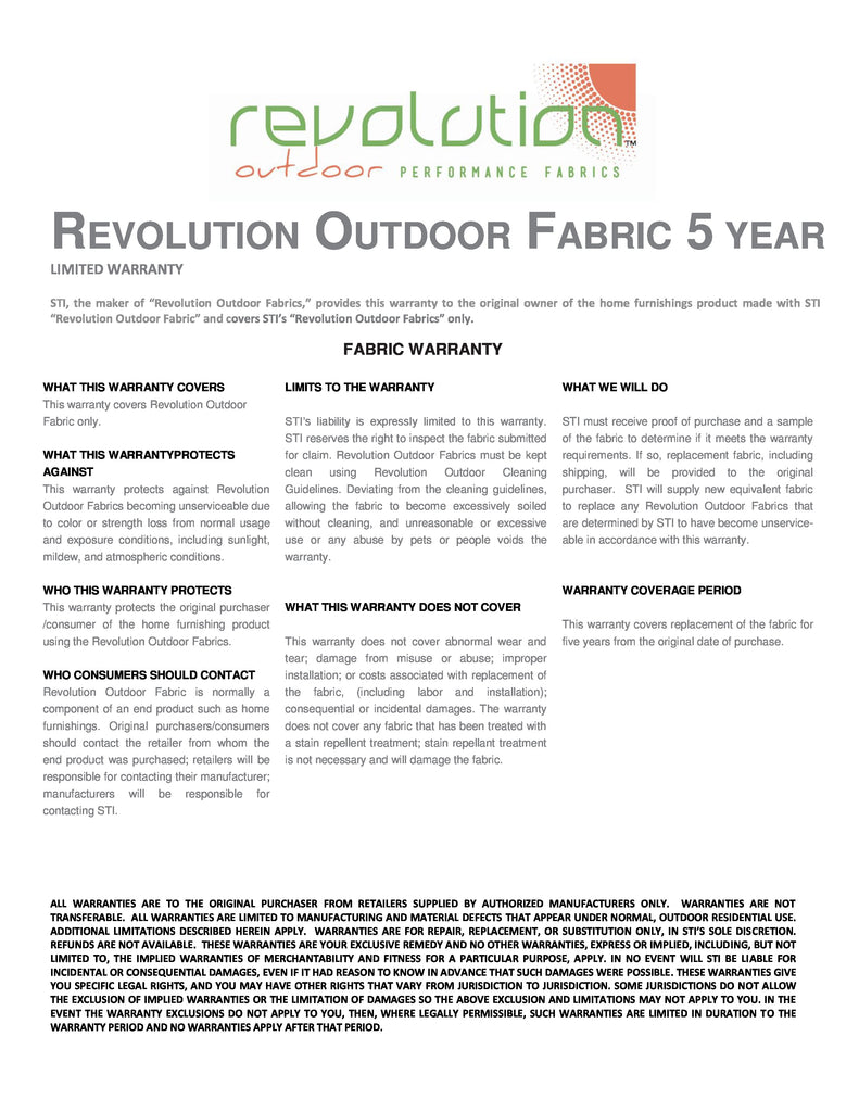Revolution Outdoor Warranty