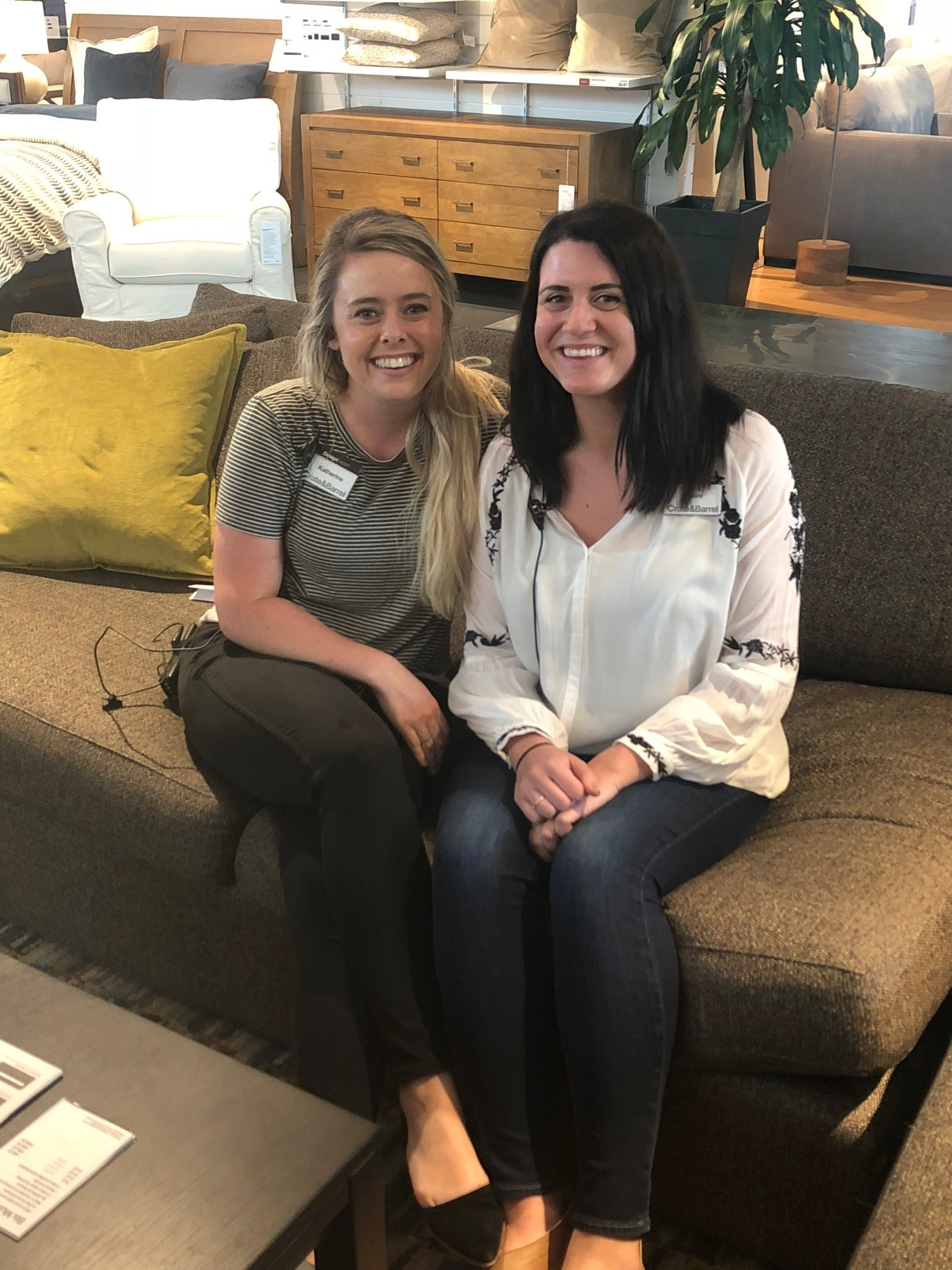 Above:  Our helpful and knowledgeable Crate and Barrel Furniture & Design Experts, Katherine and Claire!