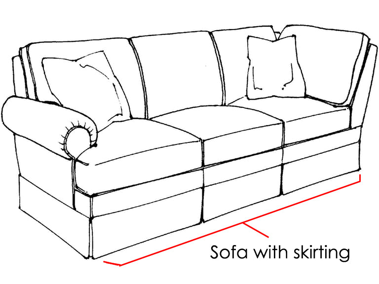 sofa with a skirt