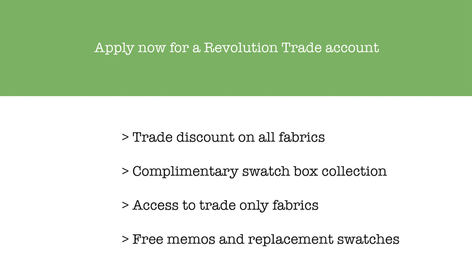 Revolution Fabrics Trade account