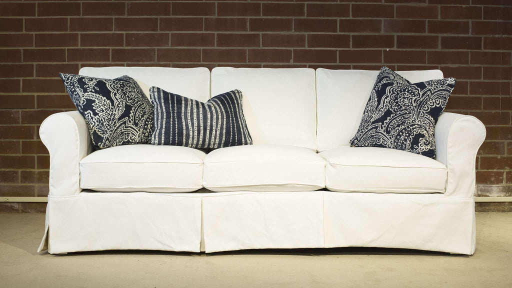 patterned performance fabric pillows on couch