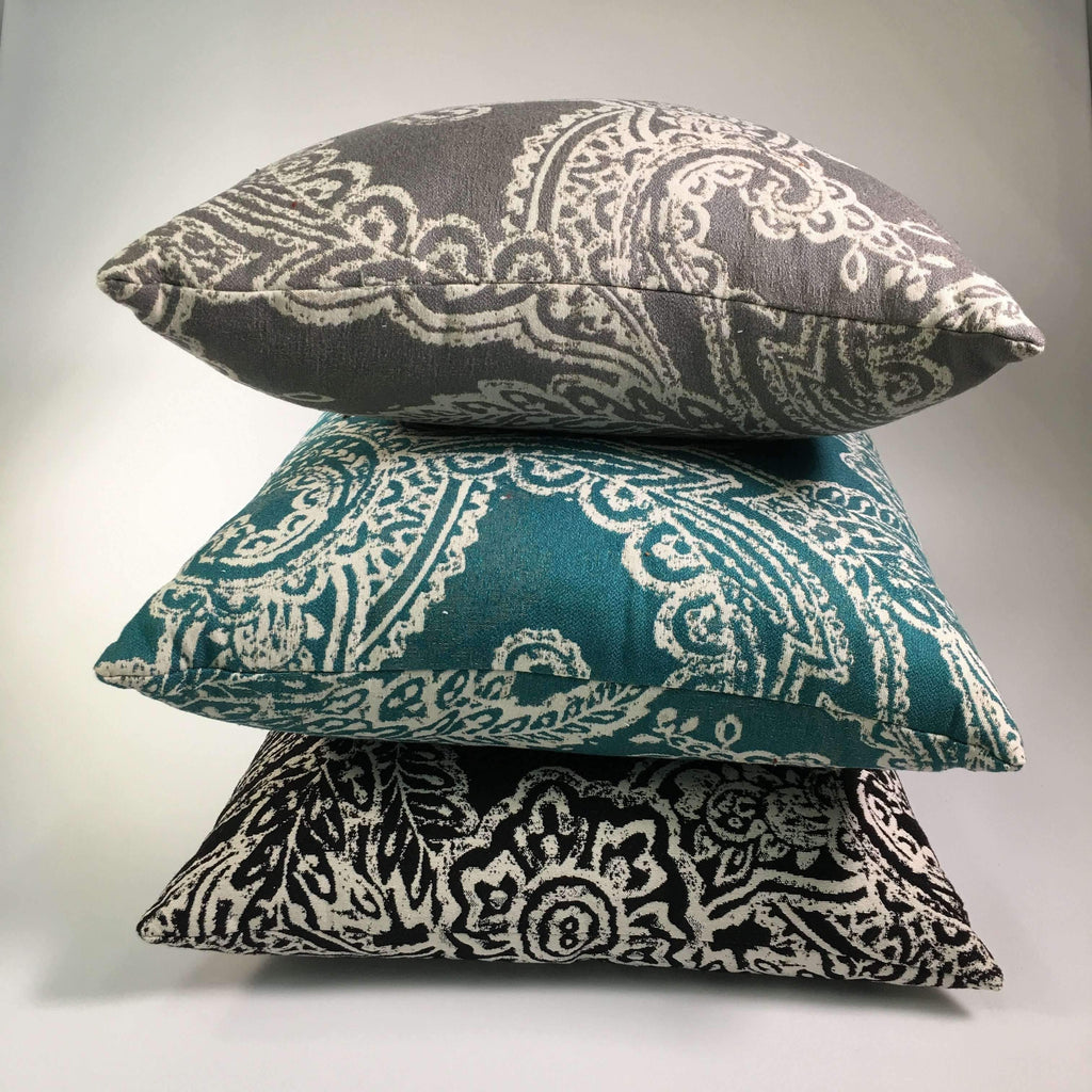 patterned performance fabric pillows