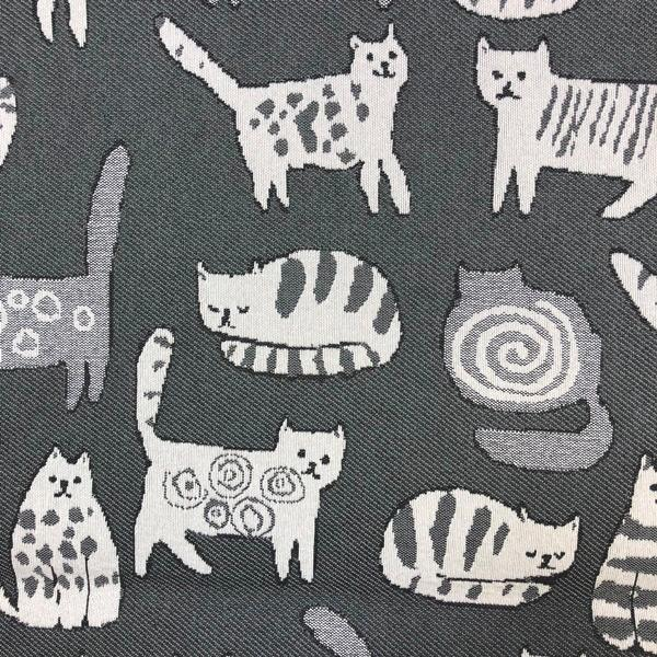Purr Cat - Jacquard Upholstery Fabric - Yard / purr-graphite - Revolution Upholstery Fabric