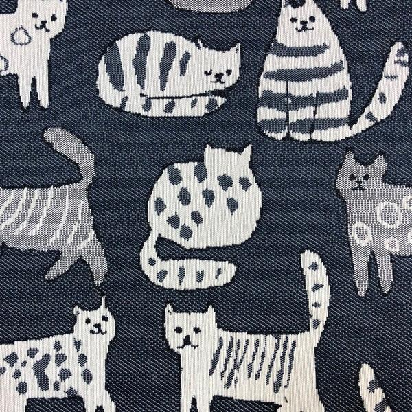 Purr Cat - Jacquard Upholstery Fabric - Yard / purr-indigo - Revolution Upholstery Fabric