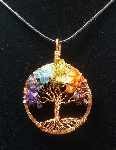 Copper Tree of Life Pendant with Rainbow Crystal Chips