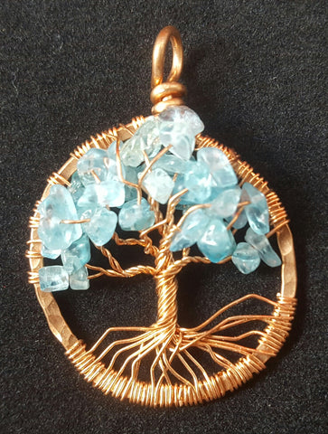 Copper Tree of Life Pendant with Apatite Crystal Chips