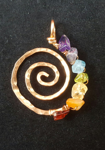 Copper Spiral Pendant with Rainbow Crystals