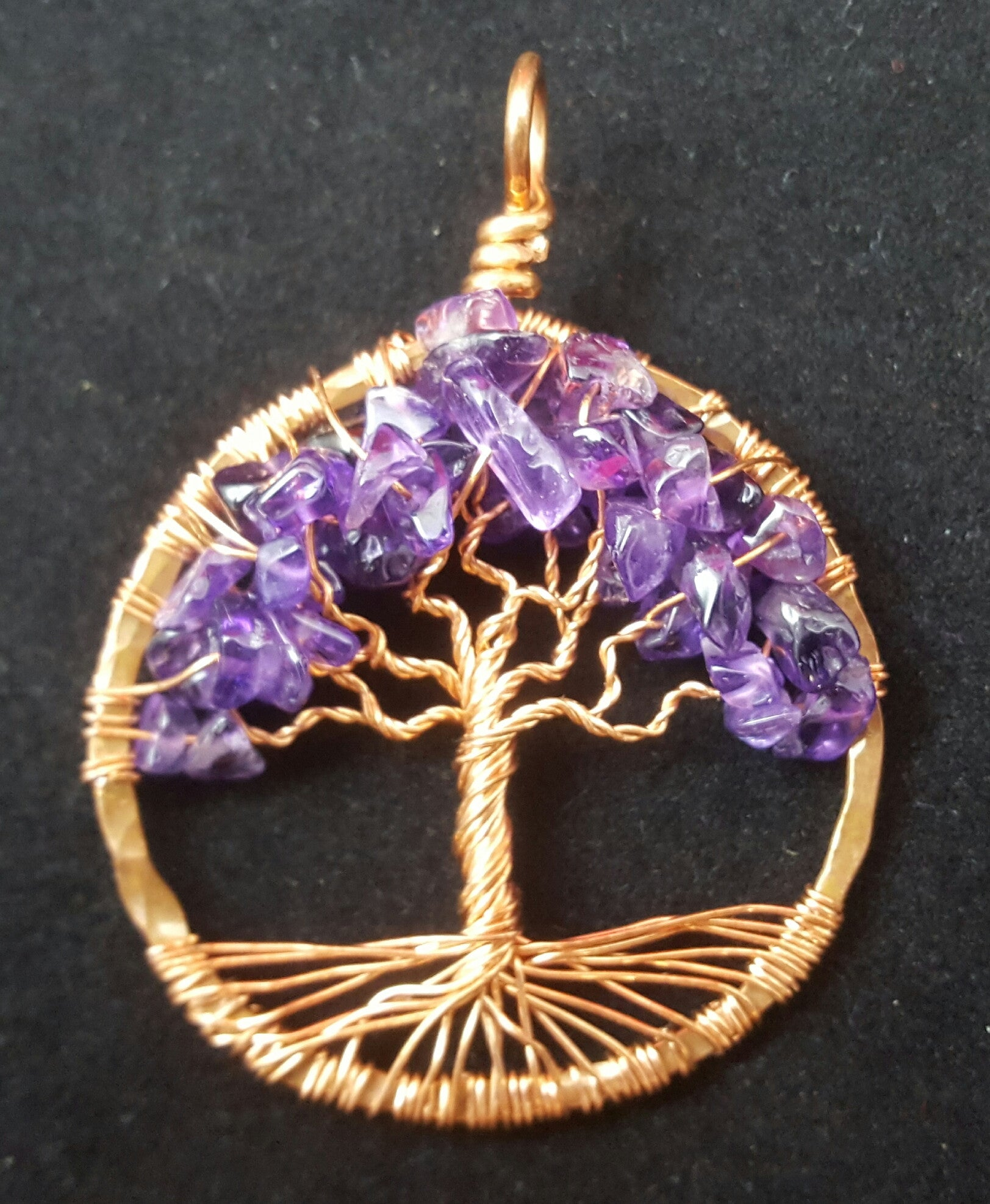Copper Tree of Life Pendant with Amethyst Chips