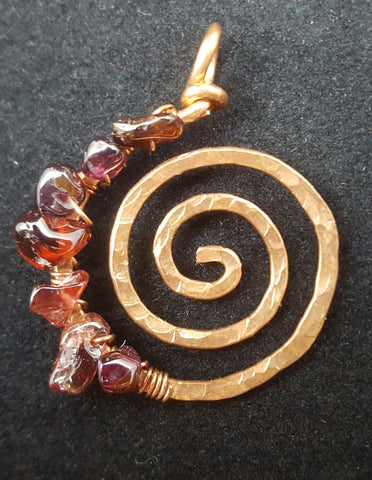 Copper Spiral Pendant with Garnet Chips
