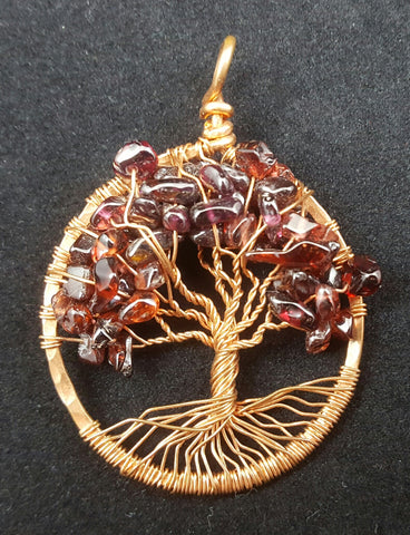 Copper Tree of Life Pendant with Garnet Crystal Chips