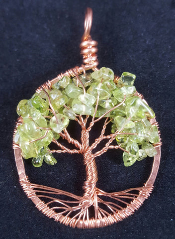 Copper Tree of Life Pendant with Peridot Crystal Chips