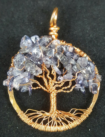 Copper Tree of Life Pendant with Iolite Crystal Chips