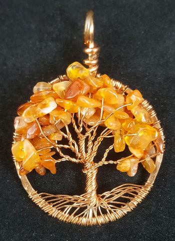 Copper Tree of Life Pendant with Carnelian Crystal Chips
