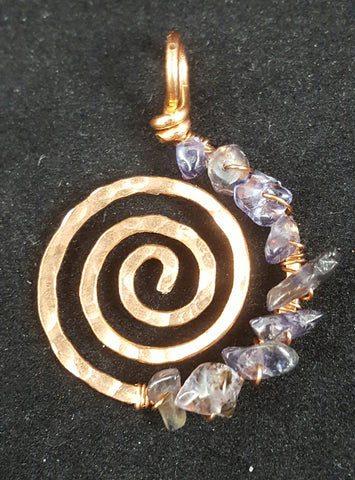 Copper Spiral Pendant with Iolite Crystal Chips