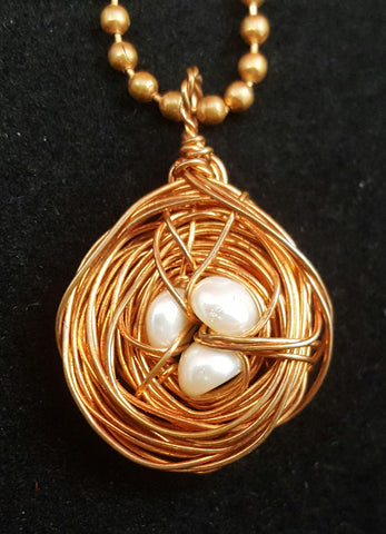 Copper Wire Nest Pendant with a Trio of Pearls