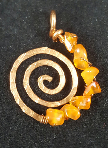 Copper Spiral Pendant with Carnelian Crystal Chips