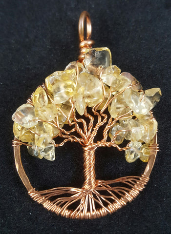 Copper Tree of Life Pendant with Citrine Crystal Chips