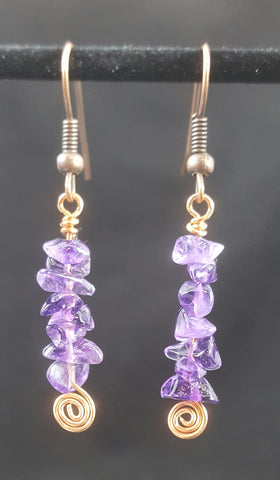 Copper Earrings with Amethyst Stone Chips