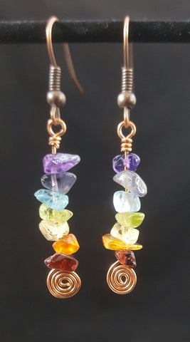 Copper Earrings with Chakra Rainbow Stone Chips