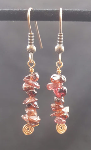 Copper Earring with Garnet Stone Chips