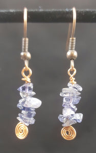 Copper Earring with Iolite Stone Chips