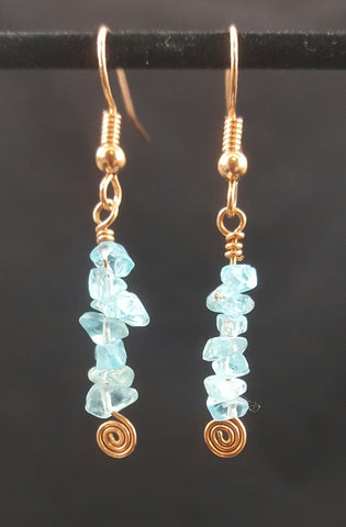 Copper Earrings with Apatite Stone Chips