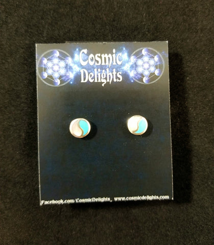 Turquoise and Mother of Pearl Stud Earrings