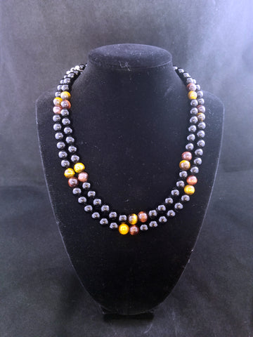 Jay King Black Onyx and Tiger Eye Necklace