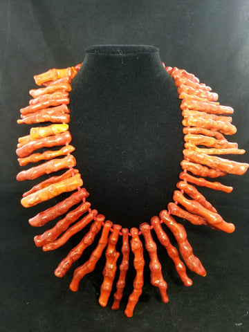 Red Coral Branch Necklace