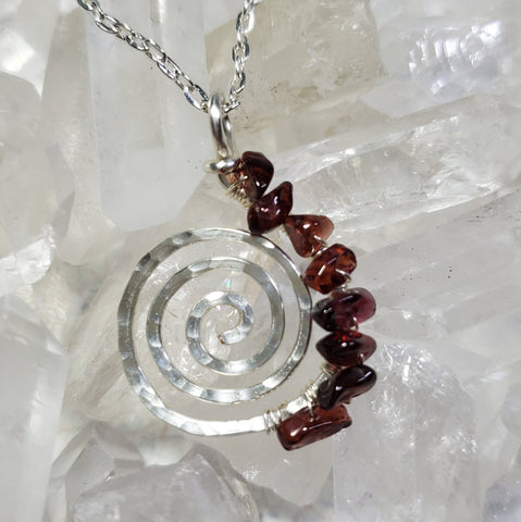 Silver Life's a Journey Spiral Chakra Necklaces with Crystal Chips