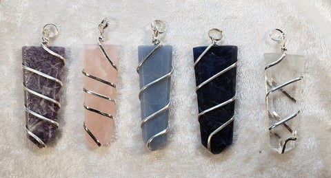 Wrapped Stone Tongue Pendants