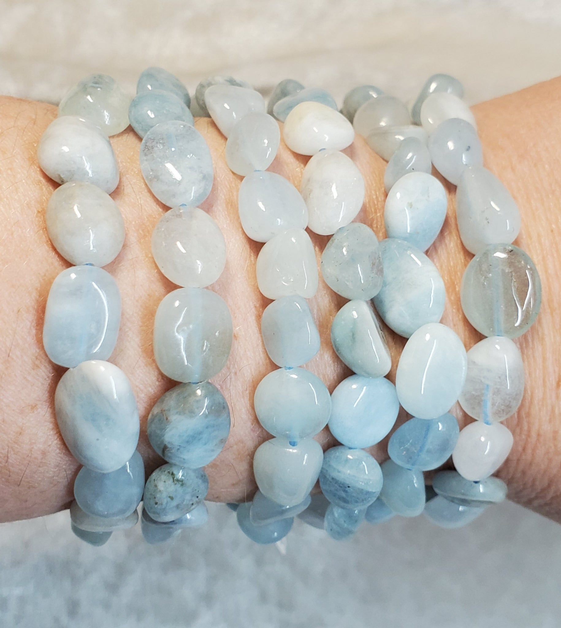Aquamarine 8-10mm Nugget Bracelet