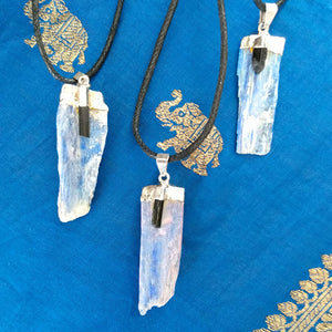 Blue Kyanite Pendant with Black Tourmaline Accent