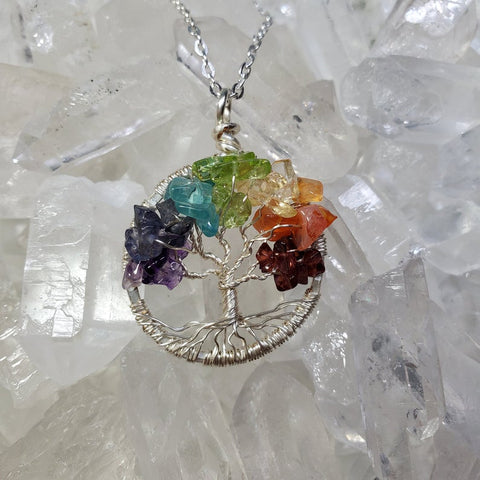 Silver Chakra Balancing Tree of Life Necklace with Rainbow Crystals