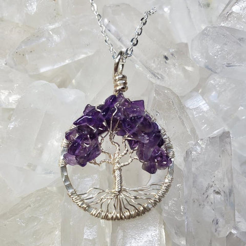 Crown Chakra Tree Of Life Pendant Silver with Amethyst
