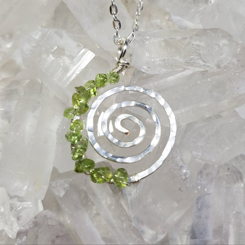 Heart Chakra Life's a Journey Spiral Necklace with Peridot