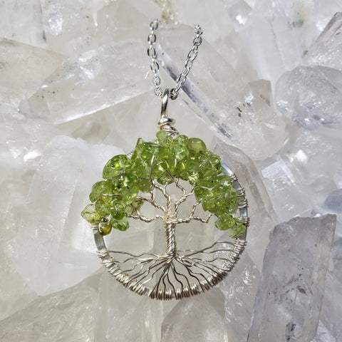 Heart Chakra Tree Of Life Pendant Silver with Peridot