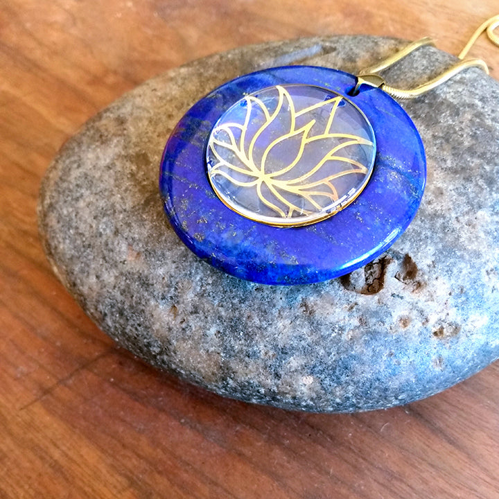 Featured Product Lapis Lazuli Gold Plated Sacred Symbol Pendants