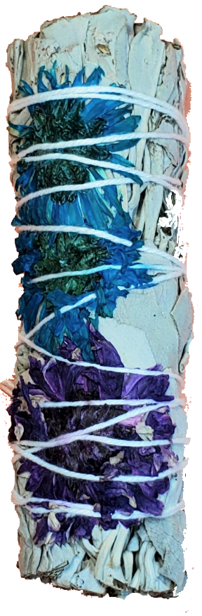 White Sage Wands with Flowers and Spice