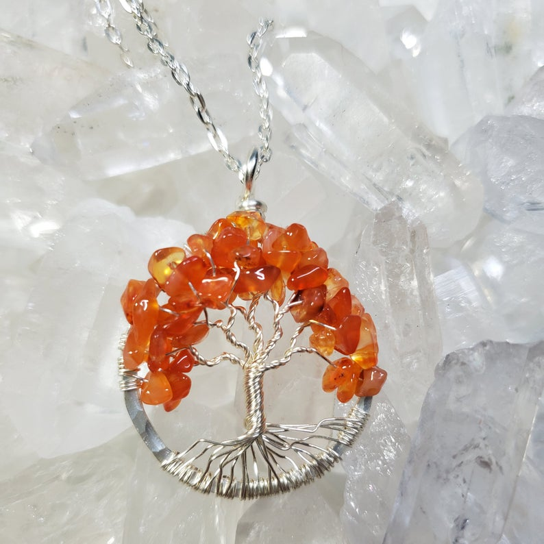 Silver Sacral Chakra Tree Of Life Pendant with Carnelian