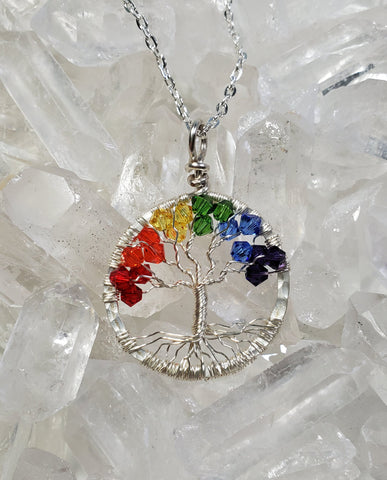 Silver Rainbow Tree Of Life Pendant