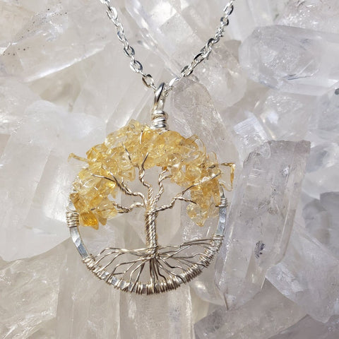 Silver  Solar Plexus Chakra Tree Of Life Pendant with Citrine