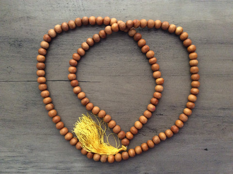 Sandalwood Buddhist Prayer Mala w/ Tassel