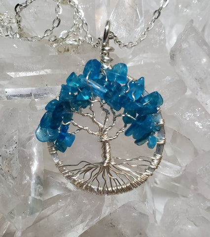 Throat Chakra Tree Of Life Pendant Silver with Apatite