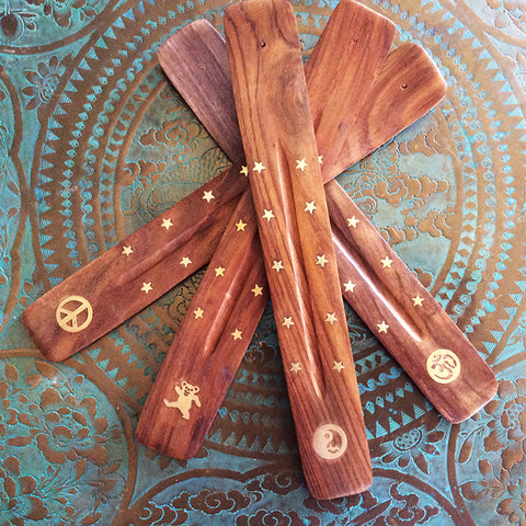 Wood Incense Burners - Brass Inlay