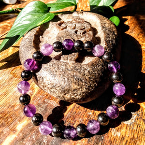 Amethyst and Magnetic Hematite Bracelet