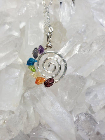 Silver Chakra Balancing Life's A Journey Spiral Necklace