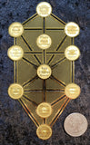 Kabbalah Tree of Life 18k Gold Plated Double Sided Altar Tile
