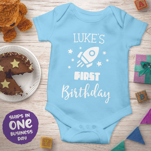 Personalised First Birthday Short Sleeve Bodysuits