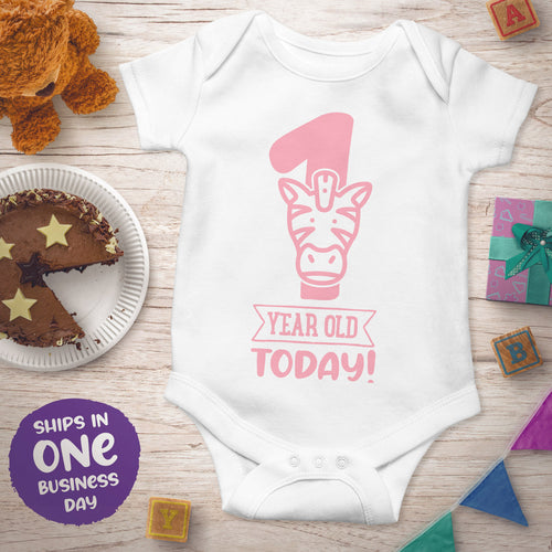 First Birthday Short Sleeve Bodysuits with Jungle Animals